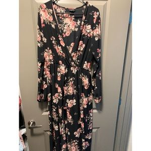 Floral romper with train